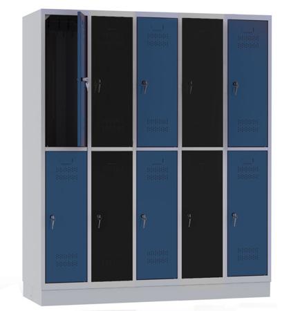 00141852 Szafa szkolna, 5 segmentów, 10 drzwi (wymiary: 1800x1480x480 mm)