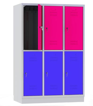 00141855 Szafa szkolna, 3 segmenty, 6 drzwi (wymiary: 1800x1200x480 mm)
