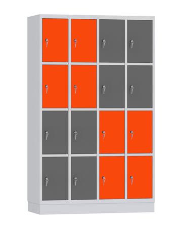 00141897 Szafa skrytkowa, 4 segmenty, 16 skrytek (wymiary: 1950x1190x480 mm)