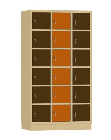 00141914 Szafa skrytkowa, 3 segmenty, 18 skrytek (wymiary: 1950x1050x480 mm)