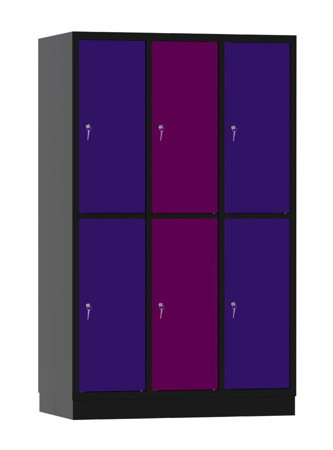00141925 Szafa skrytkowa, 3 segmenty, 6 skrytek (wymiary: 1950x1200x480 mm)