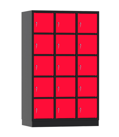 00141928 Szafa skrytkowa, 3 segmenty, 15 skrytek (wymiary: 1950x1200x480 mm)