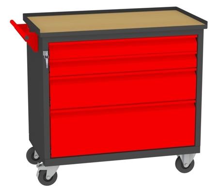 00142052 Wózek narzędziowy, 4 szuflady (wymiary: 860x950x505 mm)