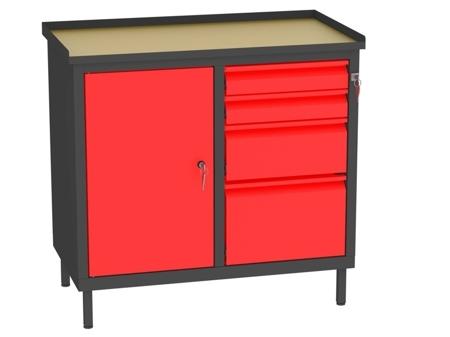 00142058 Szafka warsztatowa, 1 drzwi, 4 szuflady (wymiary: 850x900x505 mm)