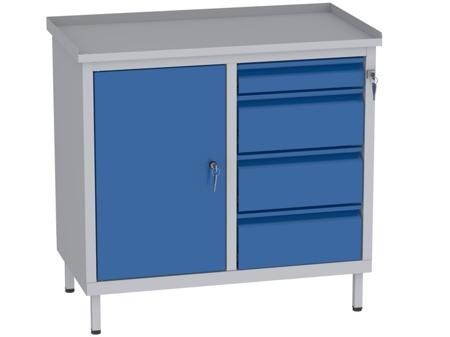 00142059 Szafka warsztatowa, 1 drzwi, 4 szuflady (wymiary: 850x900x505 mm)