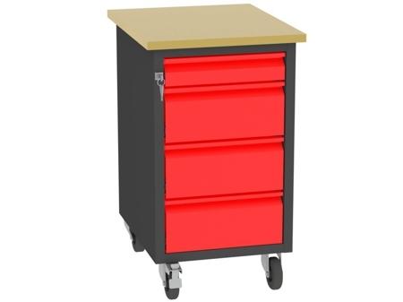 00142080 Wózek platformowy, 4 szuflady (wymiary: 830x505x605 mm)
