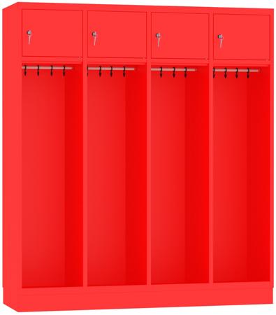 00150375 Szafa strażacka bez uchwytu na kask, 4 segmenty (wymiary: 1800x1590x480 mm)
