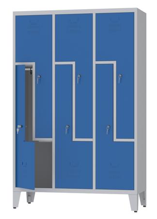 00150400 Szafa ubraniowa L na nogach, 3 segmenty, 6 drzwi (wymiary: 1860x1200x480 mm)