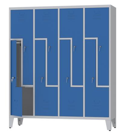 00150401 Szafa ubraniowa L na nogach, 4 segmenty, 8 drzwi (wymiary: 1860x1590x480 mm)