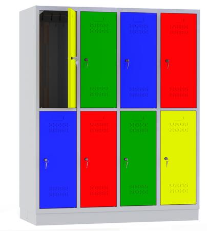 00150440 Szafa szkolna, 4 segmenty, 8 drzwi (wymiary: 1500x1190x480 mm)