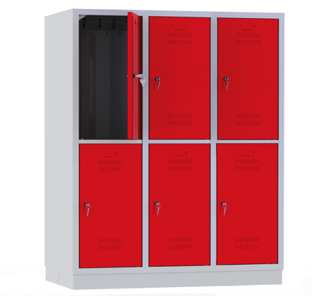 00150444 Szafa szkolna, 3 segmenty, 6 drzwi (wymiary: 1500x1200x480 mm)