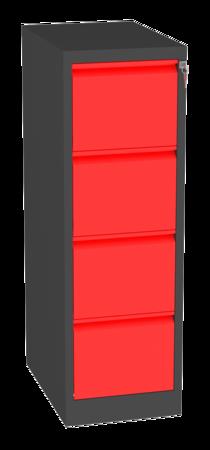 00150459 Szafa kartotekowa na teczki A4 poziome, 1 rząd, 4 szuflady (wymiary: 1280x415x630 mm)