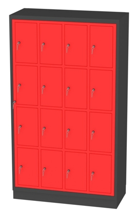 00150516 Szafa skrytkowa z drzwiami centralnymi, 4 segmenty, 16 skrytek (wymiary: 1950x1120x480 mm)