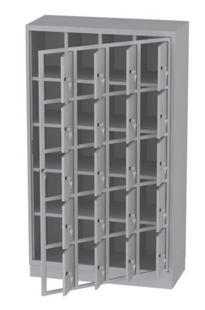 00150517 Szafa skrytkowa z drzwiami centralnymi, 4 segmenty, 20 skrytek (wymiary: 1950x1120x480 mm)