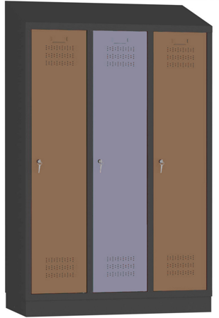 00150526 Szafa fitness z daszkiem, 3 segmenty, 3 drzwi (wymiary: 1985x1200x480 mm)