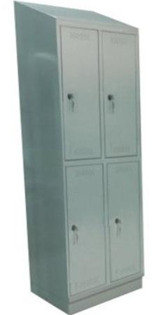 00150551 Szafa skrytkowa z daszkiem, 2 segmenty, 4 skrytki (wymiary: 2135x710x480 mm)