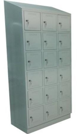 00150560 Szafa skrytkowa z daszkiem, 3 segmenty, 18 skrytek (wymiary: 2135x1050x480 mm)