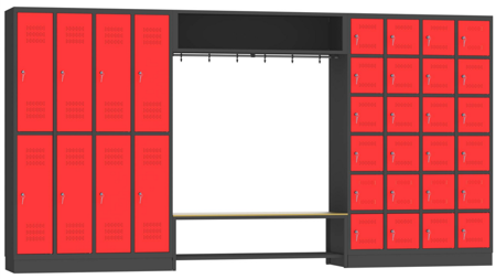 00150577 Zestaw szatniowy skrytkowy, 32 skrytek (wymiary: 1950x3750x480 mm)