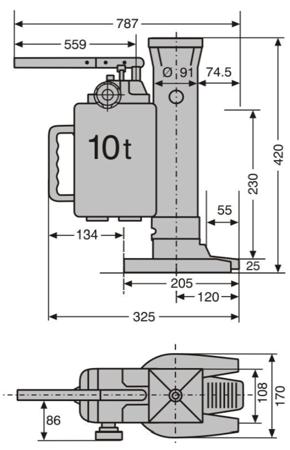 0301347 Podnośnik hydrauliczny maszynowy PS-HM 100 (udźwig: 10 T)