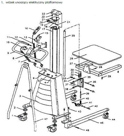 0301628 Wózek podnośnikowy elektryczny platformowy (udźwig: 150 kg, wymiary platformy: 470x600 mm)