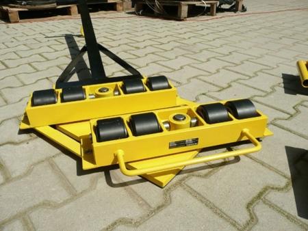 12235614 Wózek skrętny 8 rolkowy z prostokątną płytą nośną, rolki: 8x stal (nośność: 12 T)