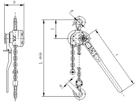 22021317 Wciągnik dźwigniowy z łańcuchem ogniwowym RZC/0.8t (wysokość podnoszenia: 1,5m, udźwig: 0,8 T)