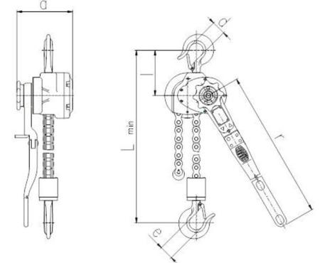 22021343 Wciągnik dźwigniowy z łańcuchem sworzniowym RZV/6.3t (wysokość podnoszenia: 3m, udźwig: 6,3 T)