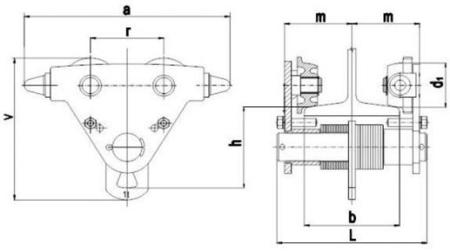 2203098 Wózek jedno-belkowy Z420R-B /1.0t (szerokość dwuteownika od: 50-220mm, udźwig: 1 T)