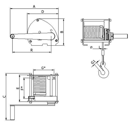 2203180 Wciągarka linowa LN/1.0t-S (długość liny: 10m, udźwig: 1 T)
