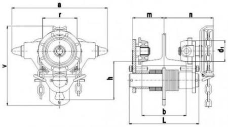 22038964 Wózek jedno-belkowy z napędem ręcznym Z420-B/1.0t/4m (wysokość podnoszenia: 4m, szerokość dwuteownika od: 50-220mm, udźwig: 1 T)