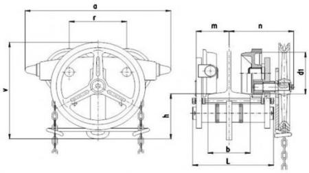 22039013 Wózek jedno-belkowy z napędem ręcznym Z420-A/7.5t/4m (wysokość podnoszenia: 4m, szerokość dwuteownika od: 125-185mm, udźwig: 7,5 T)