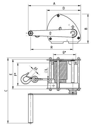 22039041 Wciągarka linowa LN/1.0t (bez liny, udźwig: 1 T)