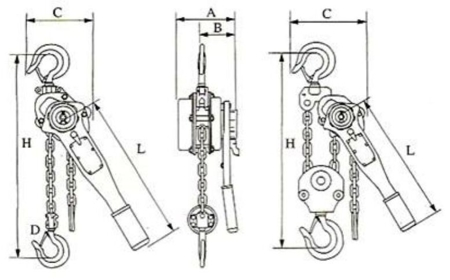 22043659 Wciągnik łańcuchowy z dźwignią ZKS 3,0 3M (wysokość podnoszenia: 3m, udźwig: 3 T)