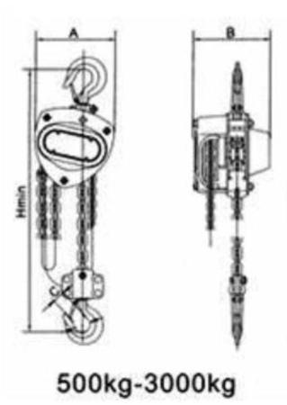 22043662 Wciągnik łańcuchowy WLK 3,0 (wysokość podnoszenia: 3m, udźwig: 3 T)