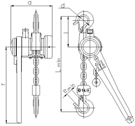 2209123 Wciągnik łańcuchowy dźwigniowy z łańcuchem ogniwowym Z310/1.0t (wysokość podnoszenia: 4,5m, udźwig: 1 T)