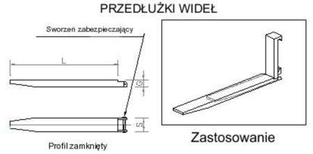 29016474 Przedłużki wideł udźwig 2500kg (1900mm)