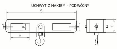 2903550 Uchwyt z hakiem (podwójny) (3000kg)