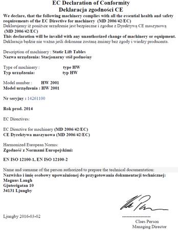 3109776 Stół podnośny elektryczny  (wymiary platformy: 1200x2000mm, udźwig: 4000 kg)