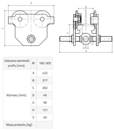 33922641 Wózek do podwieszania i przesuwania wciągników po dwuteowniku POT 5L (udźwig: 5 T, szerokość profilu: 160-305 mm)