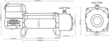 55946638 Wyciągarka samochodowa Dragon Winch Maverick DWM 12000 HD EN 24V hamulec dynamiczny, z normą EN 14492-1 z liną stalową 30m (udźwig: 12000 lb/ 5443 kg, silnik: 7,8KM)