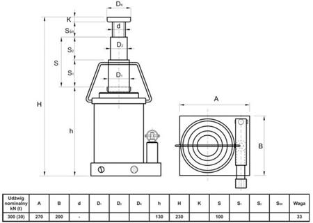62725741 Podnośnik hydrauliczny teleskopowy - niski (wysokość podnoszenia min/max: 130/230mm, udźwig: 30T)