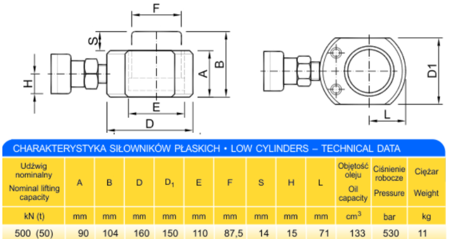 62725769 Siłownik płaski (wysokość podnoszenia min/max: 90/104mm, udźwig: 50T)