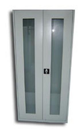 77157100 Szafa biurowa przeszklona, 2 drzwi, 4 półki regulowane (wymiary: 1800x970x460 mm)