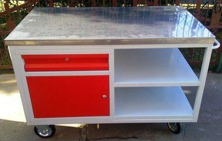 77157340 Wózek montażowy, szafka z półka i szufladą (wymiary: 1250x620x900 mm)