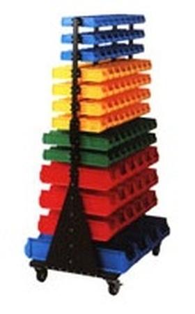 77157405 Regał dwustronny z pojemnikami plastikowymi, 206 pojemników (wymiary: 1765x1040x760 mm)