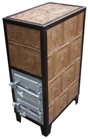 92248840 Piec grzewczy kaflowy 9,5kW Retro pięciowarstwowy na drewno i węgiel (kolor: brąz)