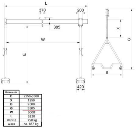 99946403 Suwnica bramowa aluminiowa z kołami + specjalne zblocze i wciągnik ręczny (udźwig suwnicy/wciągnika: 750/500 kg, szerokość: 6,23m, wysokość: 3,885m, wys. dla pracy wciągarki: 2,23-3,50 m)