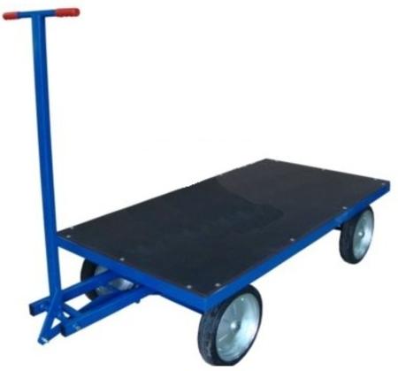 DOSTAWA GRATIS! 13340565 Wózek platformowy ręczny RS (koła: pełna guma 400 mm, nośność: 1500 kg, wymiary: 1000x2000 mm)