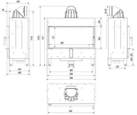 DOSTAWA GRATIS! 30054021 Wkład kominkowy 16kW LUCY 16 (szyba prosta) - spełnia Ekoprojekt