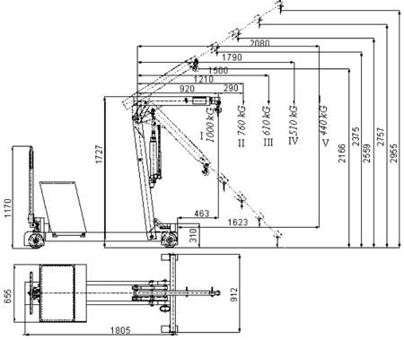 DOSTAWA GRATIS! 61714830 Żuraw hydrauliczny ręczny z przeciwwagą (udźwig do 1000 kg)